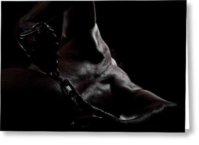 Chain On Nude Greeting Card by Scott Sawyer