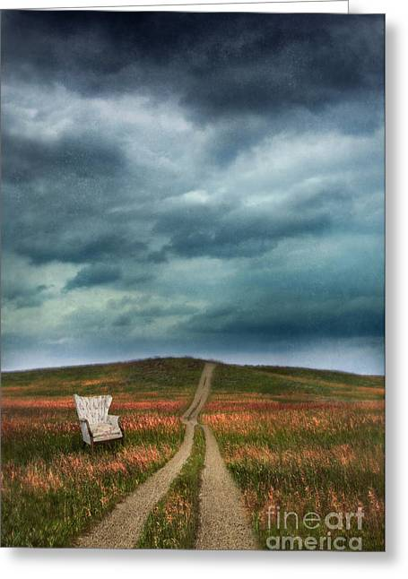 Chair By Country Road Greeting Card