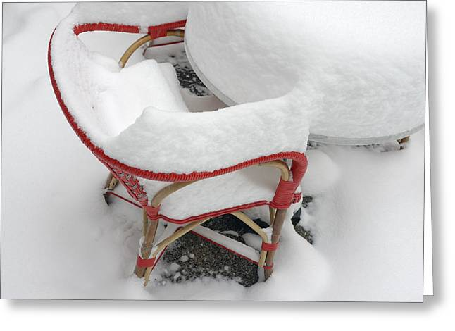 Chair In Winter Covered With Lots Of Snow Greeting Card by Matthias Hauser
