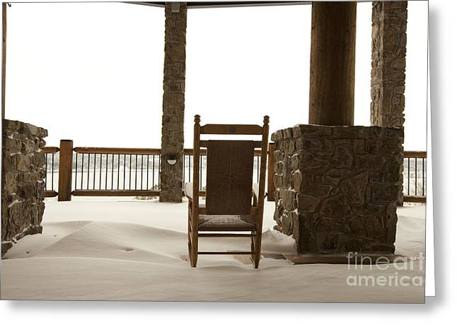 Chair On A Snowy Balcony Greeting Card by Will and Deni McIntyre