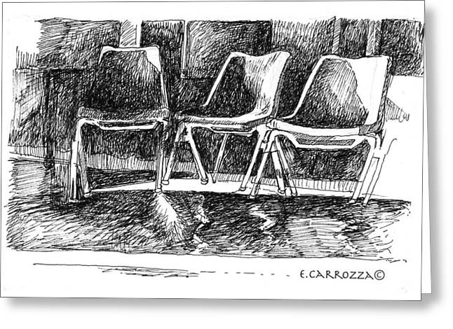 Interior Still Life Drawings Greeting Cards - Chair Study Greeting Card by Elizabeth Carrozza