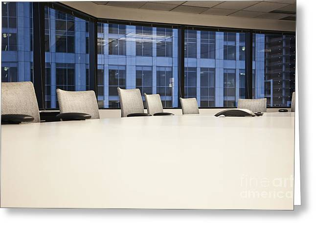 Chairs And Table In A Conference Room Greeting Card by Jetta Productions, Inc