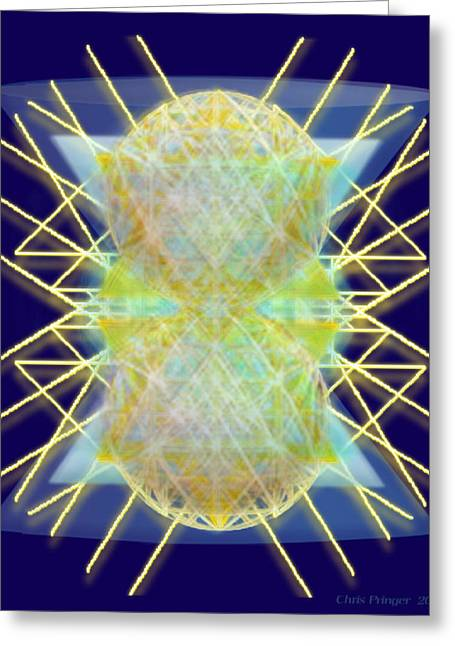 Chalicesphere Pirayed Matrix Gold In Blue Greeting Card by Christopher Pringer