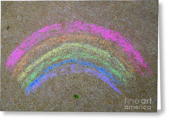 Greeting Card featuring the photograph Chalk Rainbow On Sidewalk by Renee Trenholm
