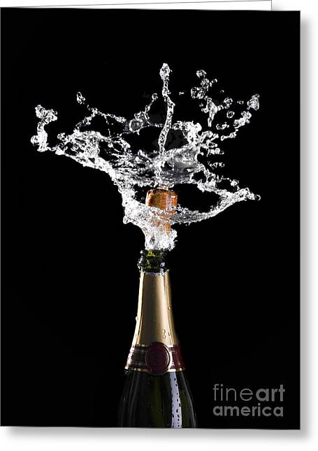 Champagne Cork Explosion Greeting Card by Gualtiero Boffi