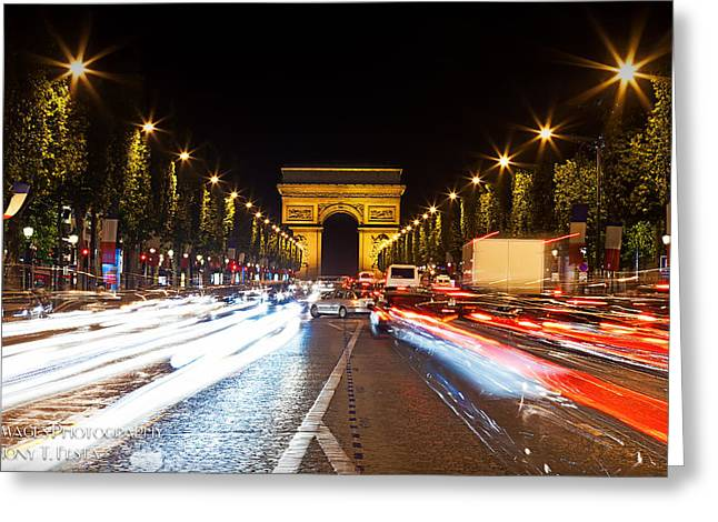 Champs-elysees And The Arc De Triomphe Greeting Card by Anthony Festa