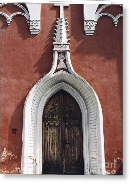Chapel Entrance In White And Brick Red Greeting Card