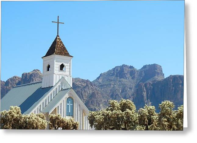 Greeting Card featuring the photograph Chapel In Superstitions by Penny Meyers