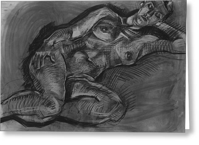 Charcoal Painting Greeting Card by Piotr Antonow