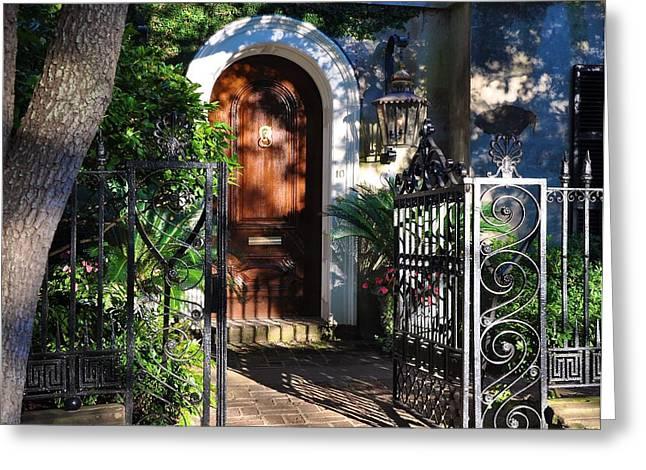 Charleston Door Greeting Card by Lori Kesten
