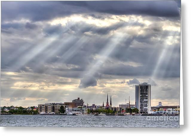Charleston Maritime Center Sun Rays Greeting Card by Dustin K Ryan