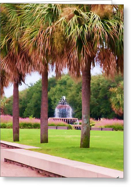 Charleston Pineapple Fountain Greeting Card