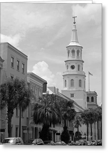 Charleston Street Scene In Black And White Greeting Card
