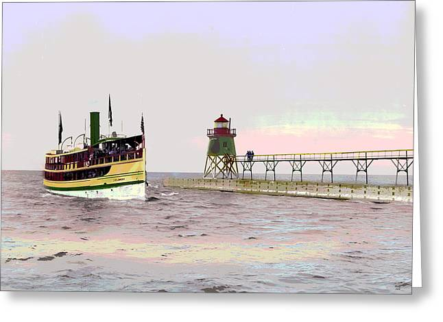 Charlevoiz South Pier Lighthouse Greeting Card by Charles Shoup