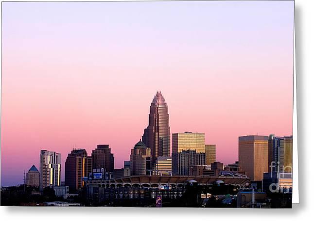 Charlotte Skyline Vibrant Pink Greeting Card by Patrick Schneider
