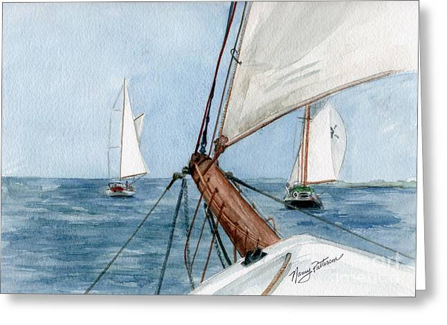 Greeting Card featuring the painting Chasing The North Wind by Nancy Patterson