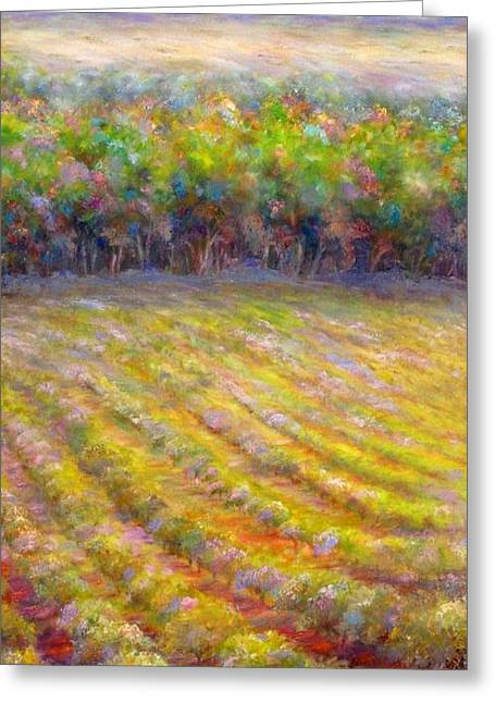 Greeting Card featuring the painting Chateau De Berne Vineyard by Bonnie Goedecke