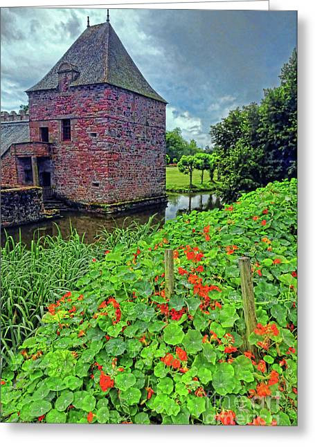 Greeting Card featuring the photograph Chateau Tower And Nasturtiums by Dave Mills