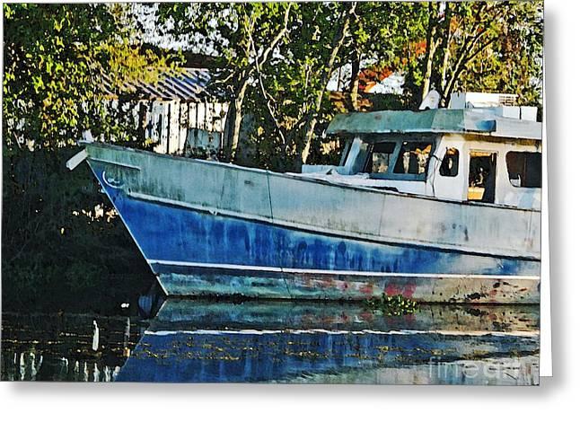 Chauvin La Blue Bayou Boat Greeting Card