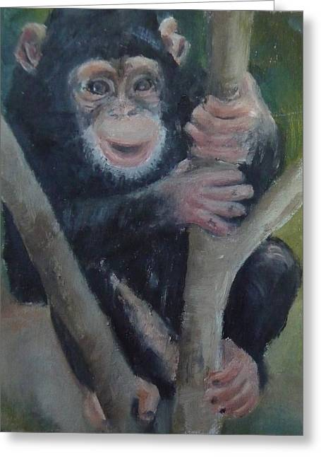 Cheeky Monkey Greeting Card by Jessmyne Stephenson