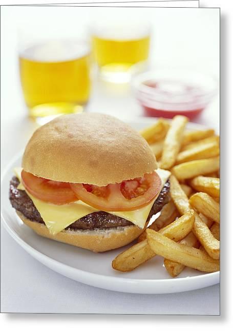 Cheeseburger And Chips Greeting Card by David Munns