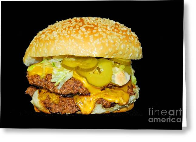 Greeting Card featuring the photograph Cheeseburger by Cindy Manero