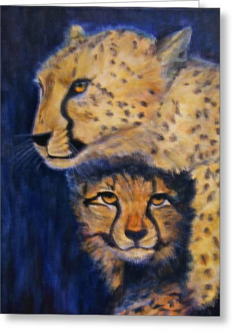 Cheetah Mother And Child Greeting Card