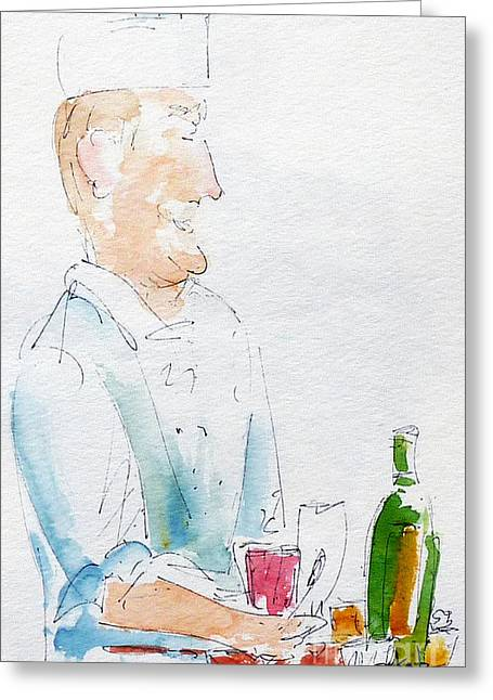 Chef In Action Greeting Card by Pat Katz