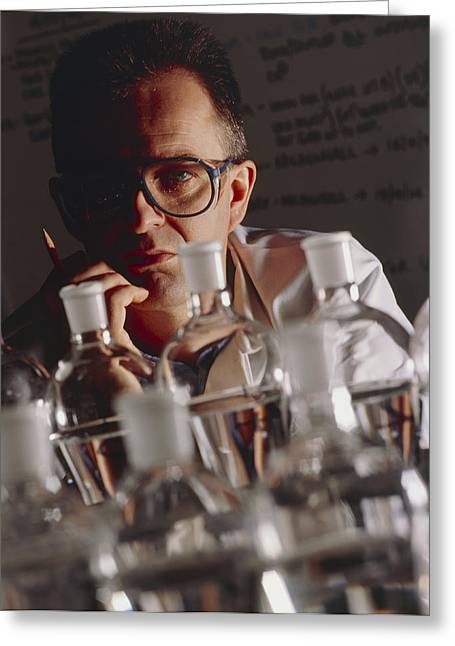Chemist At Work In His Laboratory Greeting Card by Tek Image