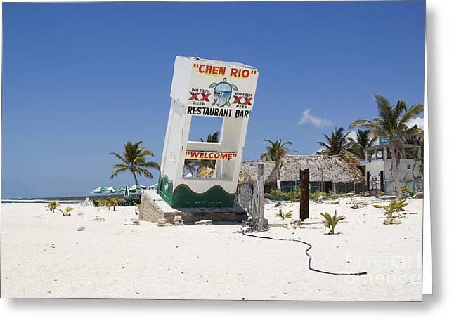 Greeting Card featuring the photograph Chen Rio Beach Bar Cozumel Mexico by Shawn O'Brien