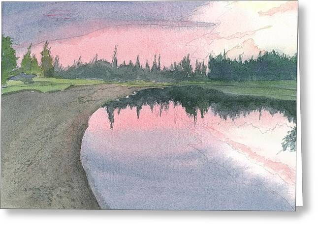 Chena River Sunset - 1 Greeting Card