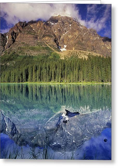 Chephren Lake And Mt. Chephren, Banff Greeting Card by Darwin Wiggett