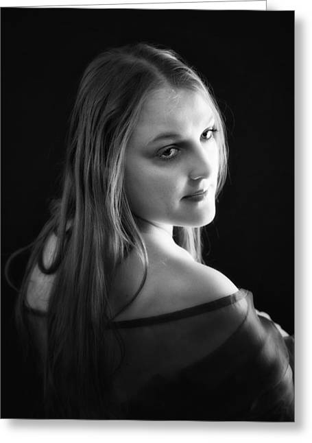 Cheree In Black And White Greeting Card by Ronel Broderick
