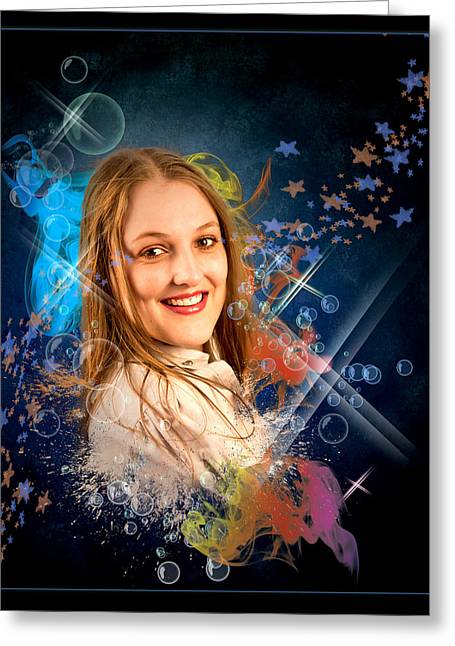 Cheree In Bubbles Greeting Card by Ronel Broderick