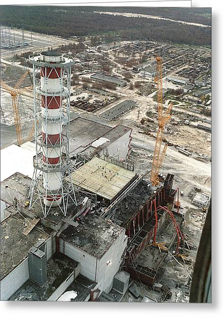 Chernobyl Reactor Clear-up Greeting Card by Ria Novosti