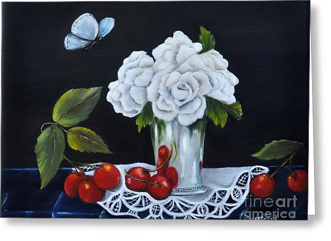 Greeting Card featuring the painting Cherries And Roses by Carol Sweetwood