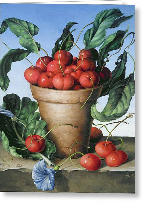 Cherries In Terracotta With Blue Flower Greeting Card by Amelia Kleiser