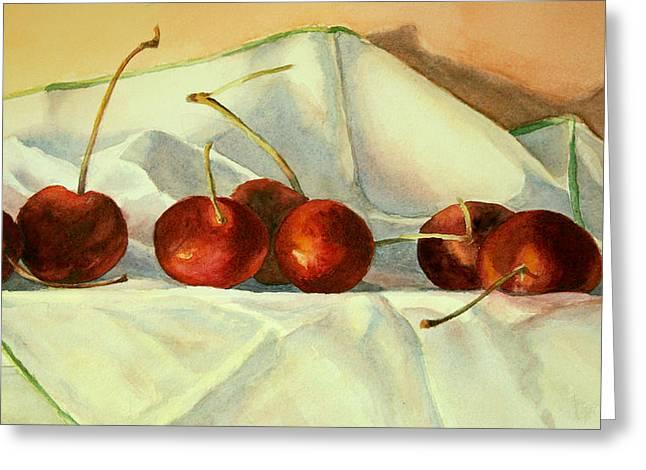 Greeting Card featuring the painting Cherries Jubilee by Vikki Bouffard