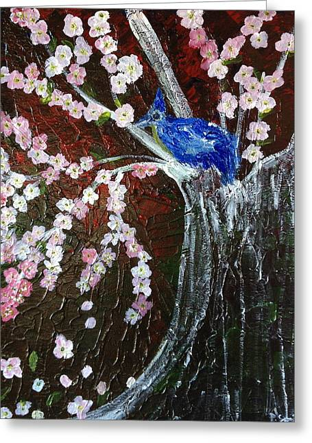 Cherry Blossom And Blue Bird  Greeting Card by Pretchill Smith