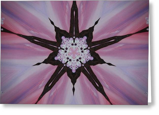 Cherry Blossom Kaleidoscope 2 Greeting Card by Heather  Hubb