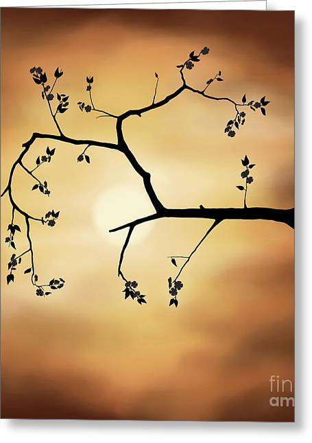 Cherry Blossom Over Dramatic Sky Greeting Card by Oleksiy Maksymenko