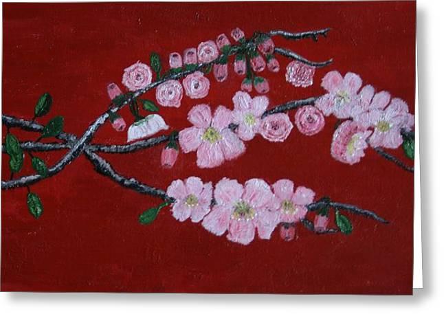 Cherry Blossom Trio Greeting Card by Lorraine Adams