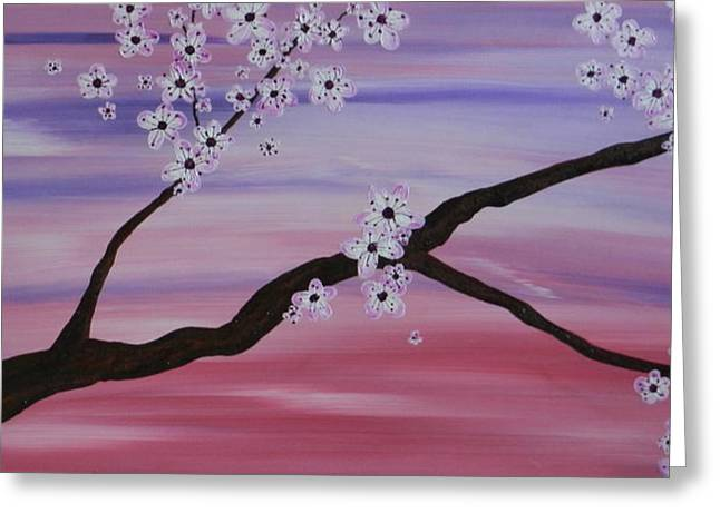 Cherry Blossoms At Sunrise Greeting Card by Heather  Hubb