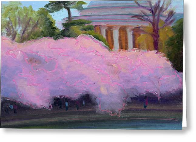 Cherry Blossoms In Afternoon Light Greeting Card by Julie Hart
