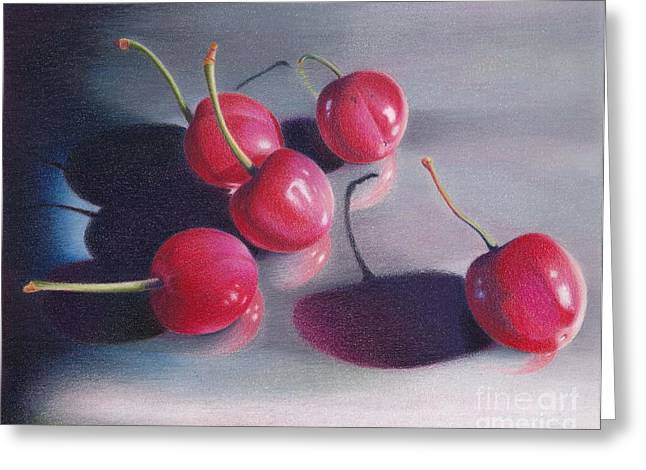 Cherry Talk Greeting Card by Elizabeth Dobbs