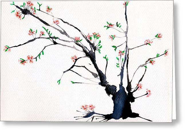 Cherry Tree By Straw Greeting Card by Helaine Cummins