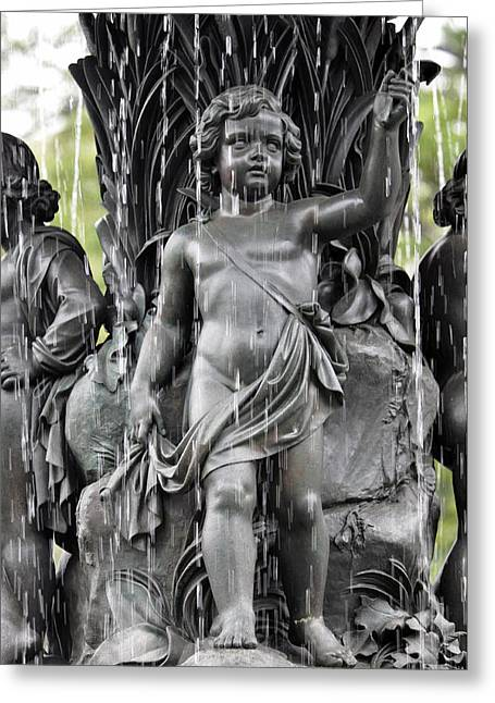 Greeting Card featuring the photograph Cherub Bethesda Fountain 1 by Sarah McKoy