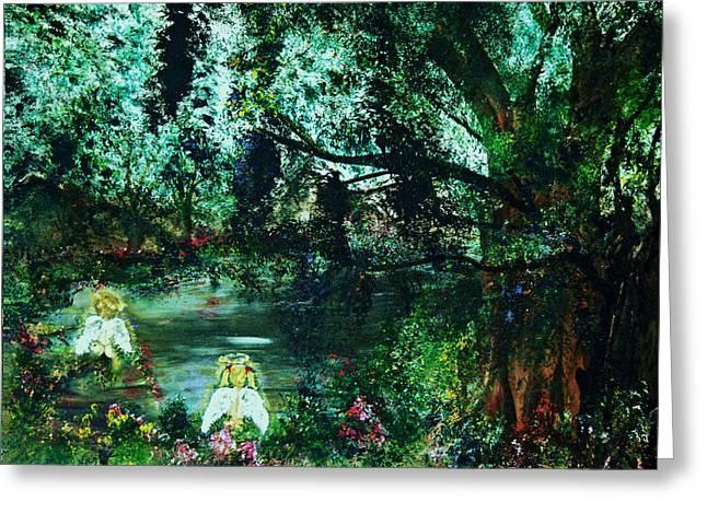 Greeting Card featuring the painting Cherub Lake by Joy Braverman