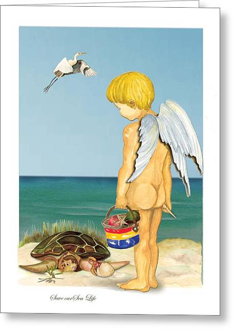 Greeting Card featuring the painting Cherub Saving Turtle by Anne Beverley-Stamps