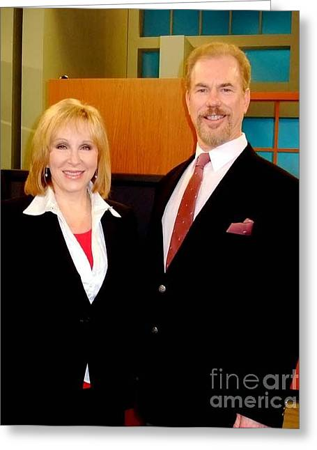 Cheryl Jennings Of Abc And Myself On The Set Of Beyond The Headlines Greeting Card by Jim Fitzpatrick